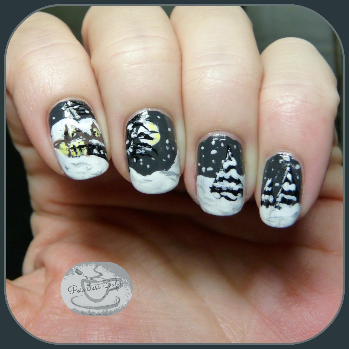 Snow-Scene-Nail-Art