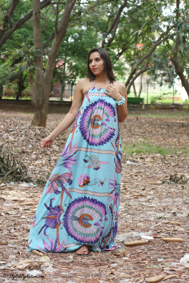Tropical print, MAxi Dress, Beaded Flats, Colorful Maxi, Bright print dress