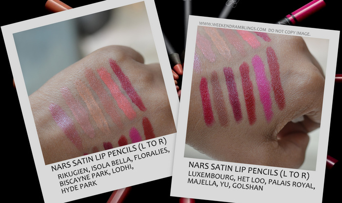 nars cosmetics new makeup satin lip pencils rikugien isola bella floralies biscayne park lodhi hyde luxembourg het loo majella palais royal yu golshan indian beauty blog darker skin swatches