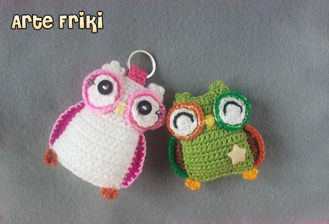 búho amigurumi owl crochet ganchillo broche llavero colgante
