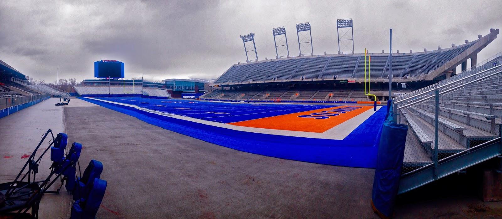 Boise state university, bsu, bronco field, boise, idaho, blue and orange, broncos, stadium, blue turf, smurf turf, football field, boise state football, natalie craig