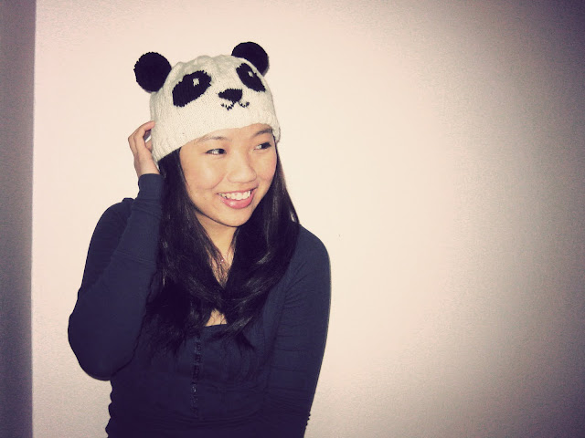because she started knitting: DIY: Knitted Panda Hat