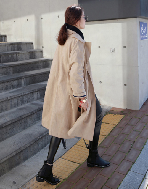 Suede Notched Collared Coat
