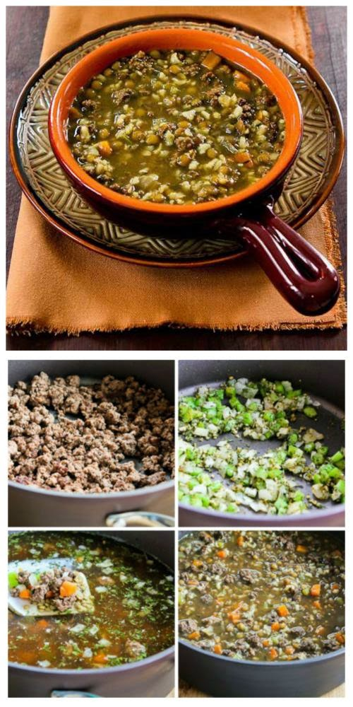 Lentil Soup Recipe with Ground Beef and Brown Rice from KalynsKitchen ...