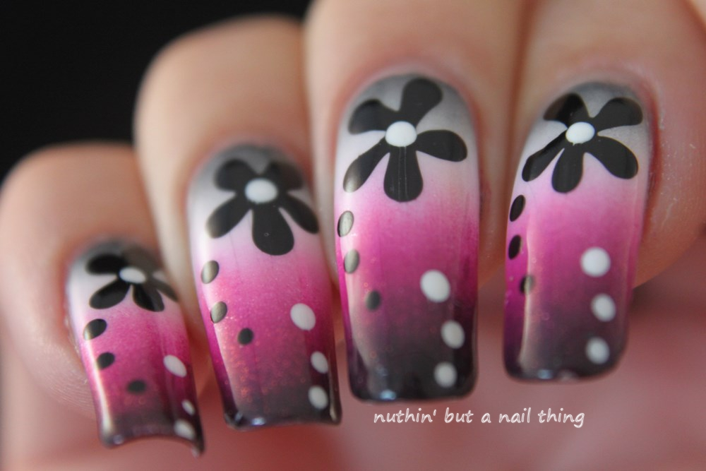 nuthin\' but a nail thing: Flower and gradient nail art