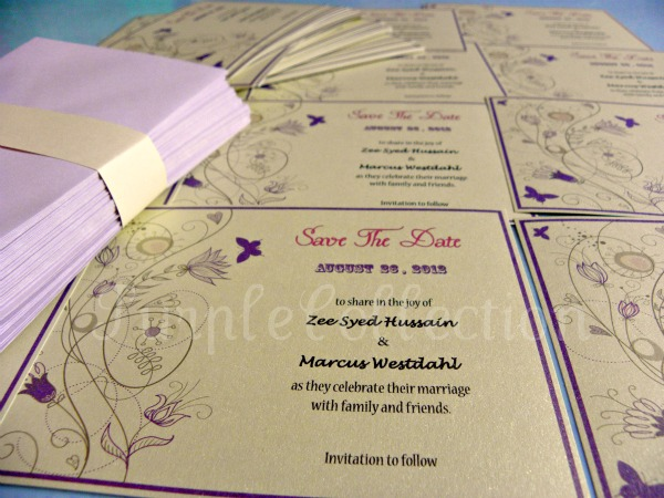 Swirl, Purple, Floral, save the date, cars, zee, marcus, zee & marcus, swirl purple floral, zee syed hussain, marcus westilahi