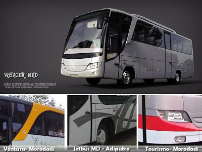 Disain Bus Komparasi Voyager - Ventura - Jetbus MD - Tourismo