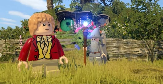 Bilbo and Gandalf in screenshot of video game Lego The Hobbit