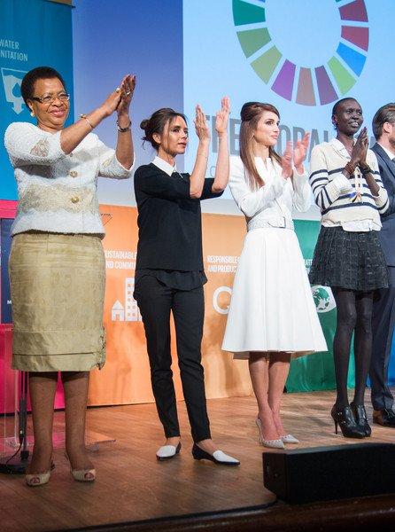 Victoria Beckham, Her Majesty Queen Rania Al Abdullah of Jordan, Graca Machel, Alek Wek ttend the Social Good Summit at the 92nd Street