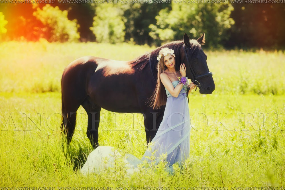 фотосессия в поле с лошадкой