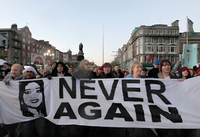 Thousands of people marched in Dublin's city center on Saturday calling for legislation on abortion, following the death of Savita Halappanavar.