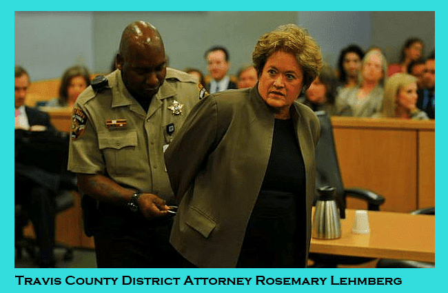 Travis County District Attorney Rosemary Lehmberg is being placed in handcuffs after a court appearance.
