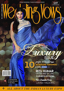 Jacqueline Fernandez features in Saree on Wedding Vows Magazine August 2015
