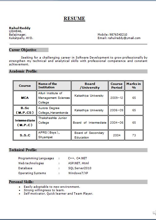 sample resume for entry level