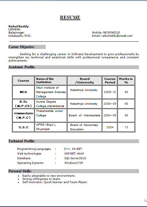 soft copy of resume format sample resume for entry level - Copy Of A Resume Format