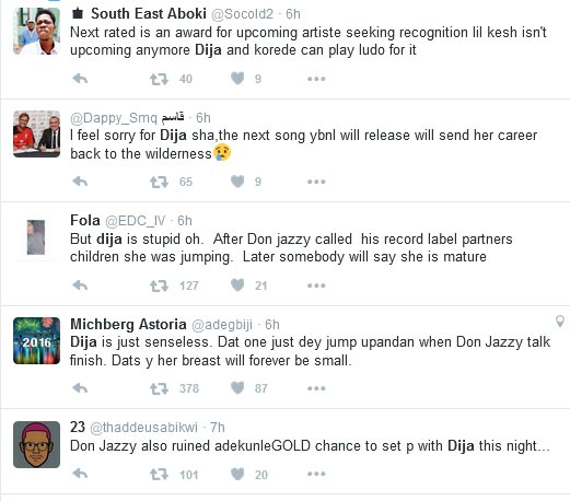 Awww, No! Twitter Roasts Di'Ja For Rejoicing When Don Jazzy Called Out Olamide At The Headies (Screenshots)