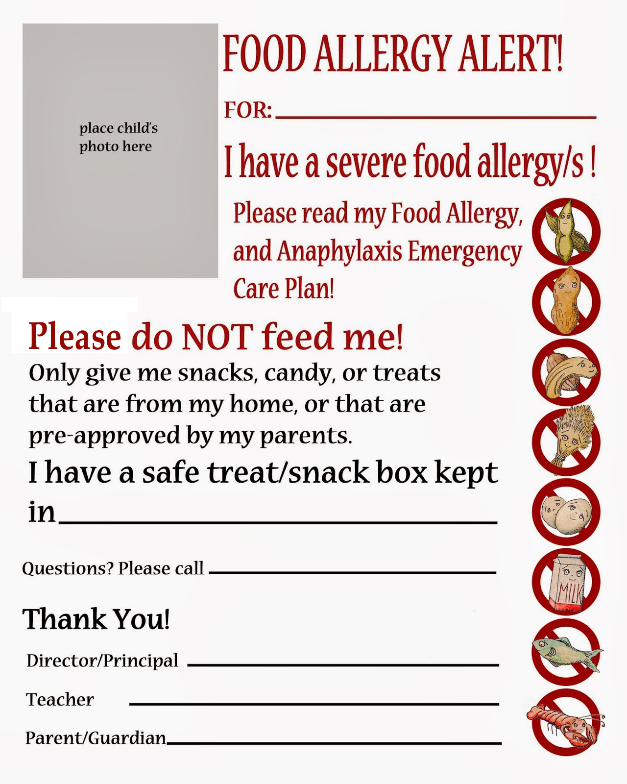 A List Of Safe Snacks That Your Child Can Have Complete With Brand Names  And A Notice To Check Each Label Every Time As Companies Can Change  Ingredients At ...  Classroom List Template