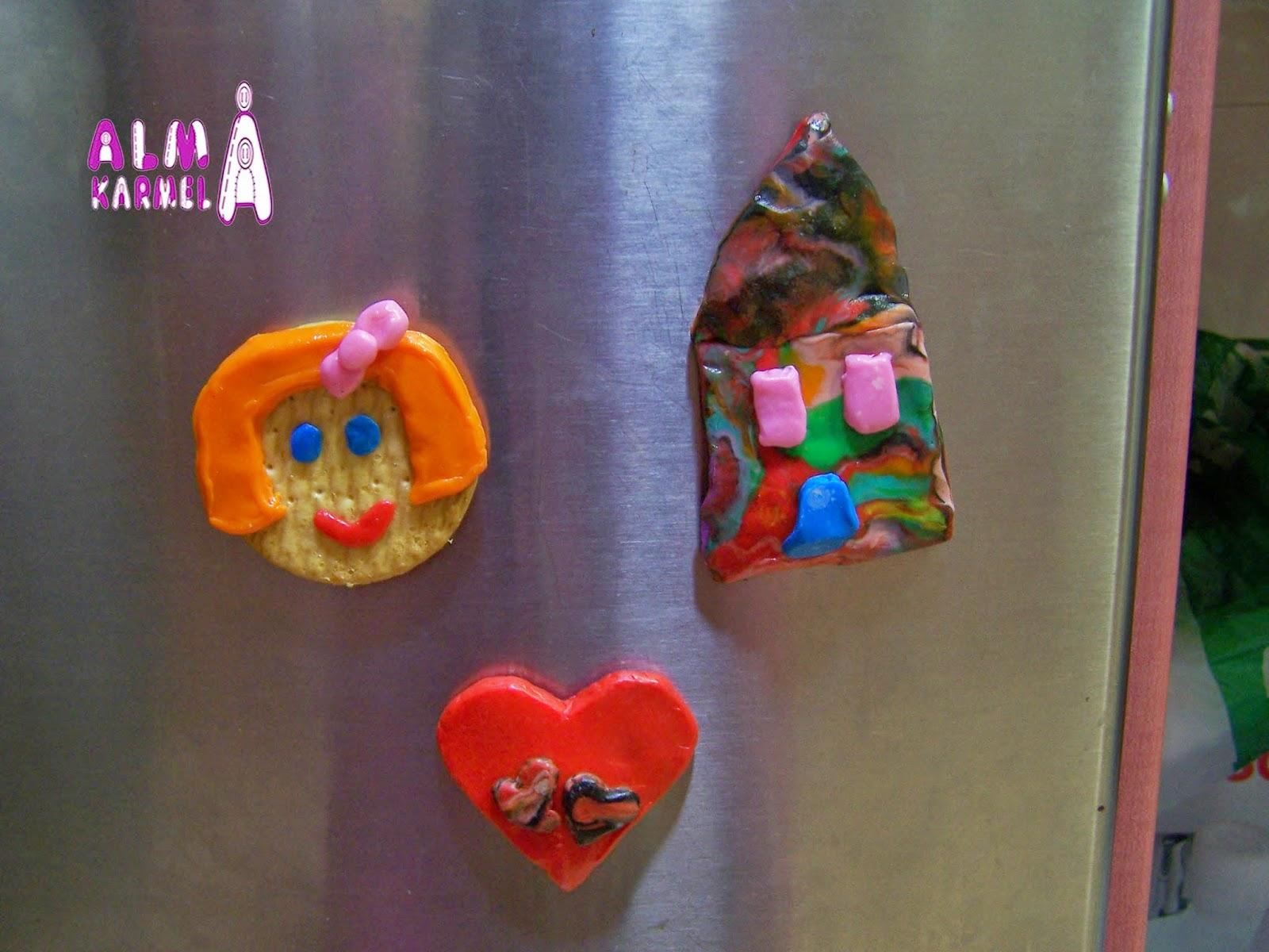 Imanes de plastilina y galleta para el frigorifico