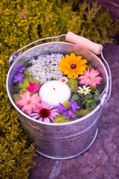 bucket full of fresh flowers