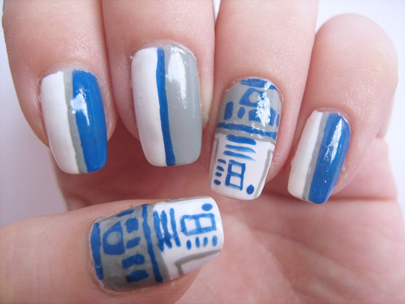 R2-D2 nails, Star Wars nails, Movie nails, Sci-Fi nails