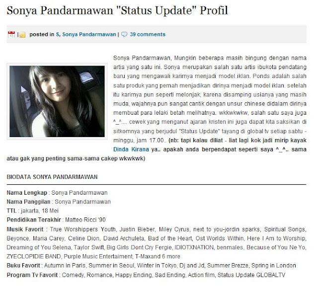 Sonya Pandarmawan Profile Profile Sonya Sempat di Update