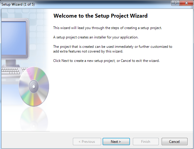 Setup wizard in visual studio