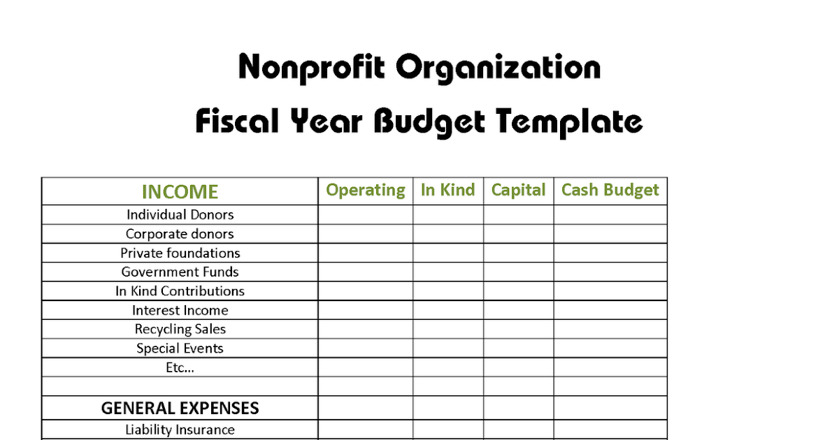LOC THAI CPA PC Nonprofit Organization Fiscal Year Budget Template – Non Profit Budget Worksheet