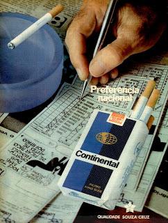propaganda cigarros Continental - 1973 - loteria esportiva; propaganda anos 70; história decada de 70; reclame anos 70; propaganda cigarros anos 70; Brazil in the 70s; Oswaldo Hernandez;