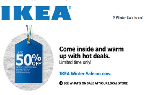 IKEA Winter Sale Up To 50% Off