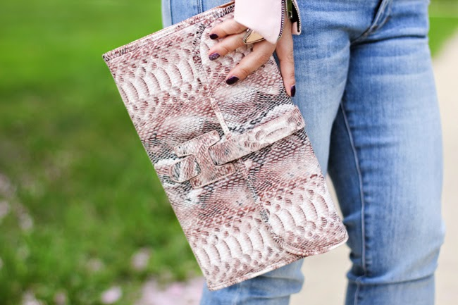 pink animal print clutch from Charming Charlie