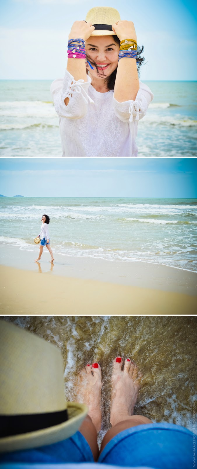 praia, jana acessórios, blogueira, bata, short, blogger, chapéu, panamá, pulseirismo