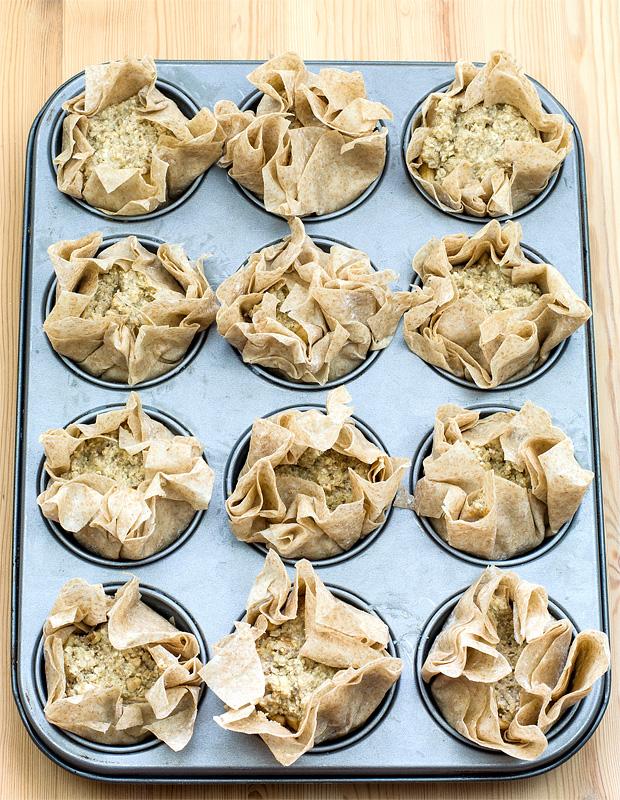 Mini apple pies before baking top