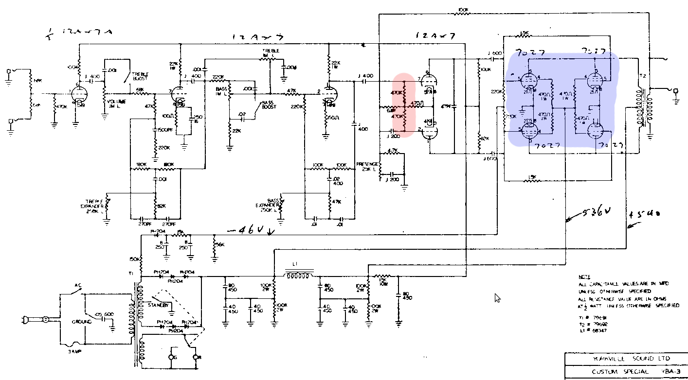 Machine Log Potentiometer Wiring Diagram Power Above Is The First Or Earliest I Can Find Revision Circuit Amplifier Non Master Volume Choke In Supply Fixed Resistor Bias And 7027 Output