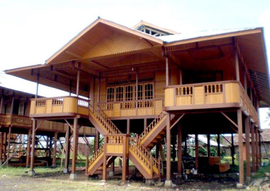 bentuk rumah bambu terkini