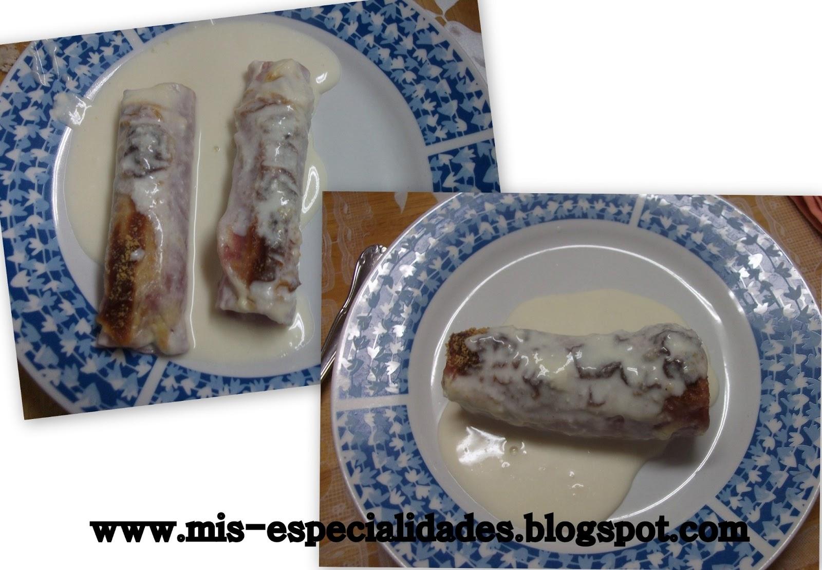 Mis especialidades puerros rellenos de jam n con bechamel - Bechamel con nata para cocinar ...