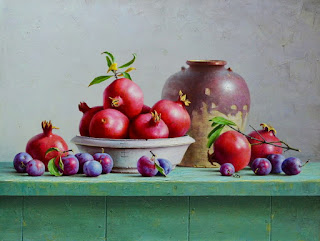 Pintura Bodegon Uvas Oleo