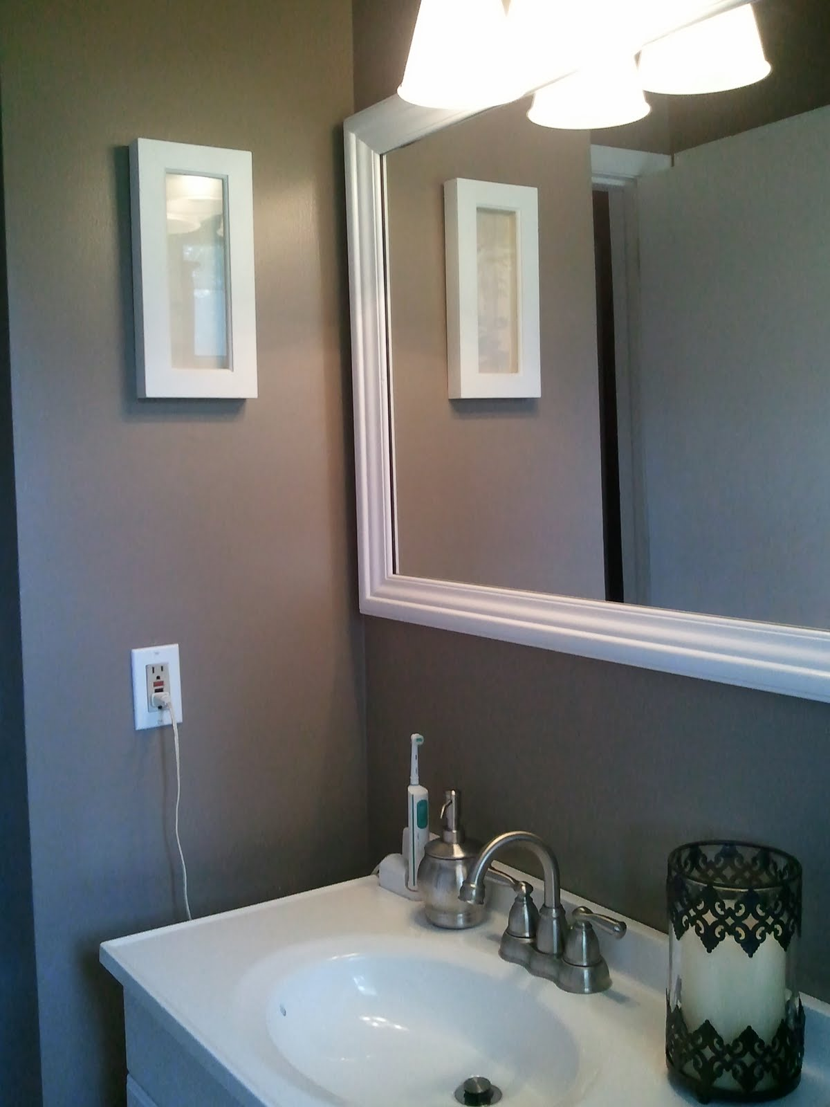 Bargain corner designs small brown bathroom upadate for Bathroom ideas with no windows