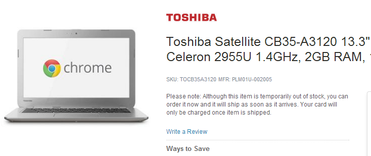 Toshiba Satellite CB35-A3120 Chromebook in Adorama