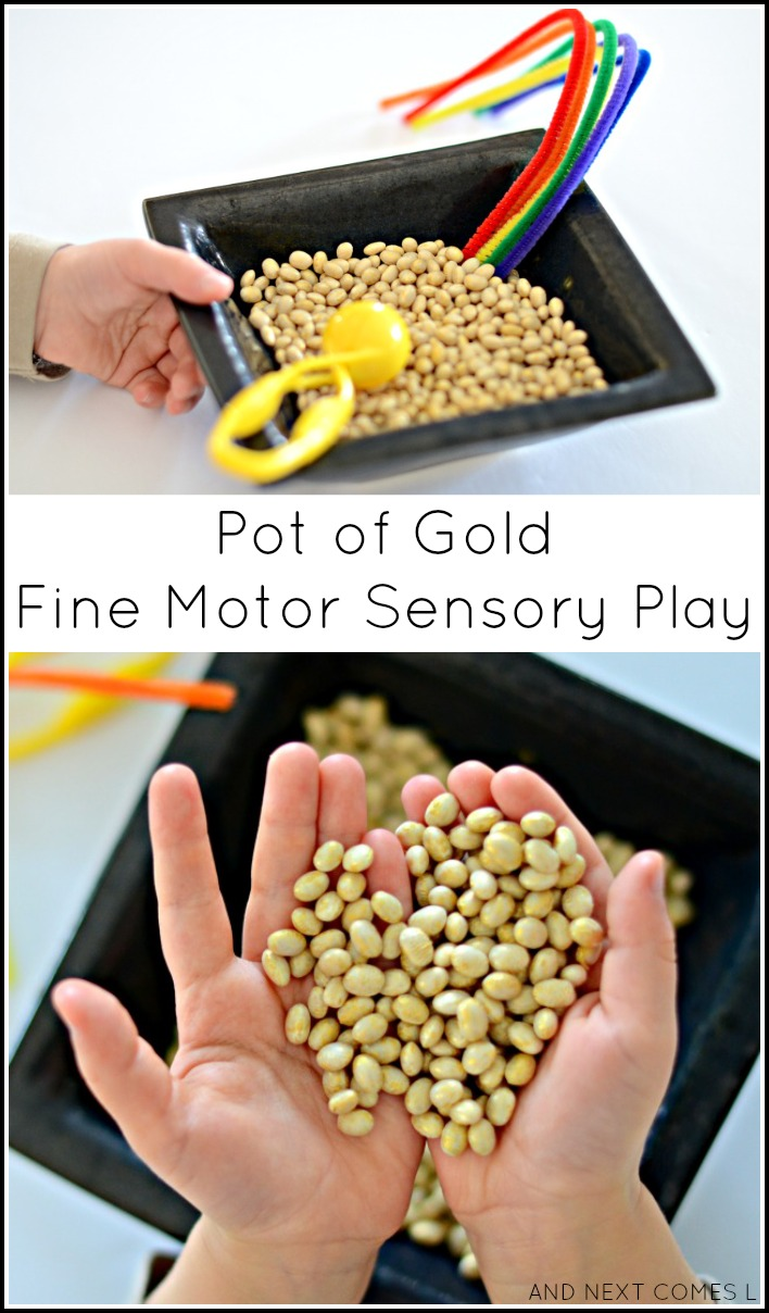Pot of gold fine motor sensory play for kids that's perfect for St. Patrick's Day from And Next Comes L