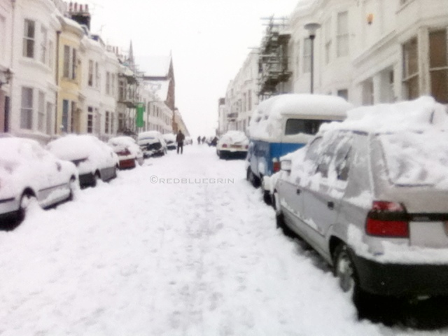 Another example of white-out during winter season due to heavy snowfall, Brighton, UK