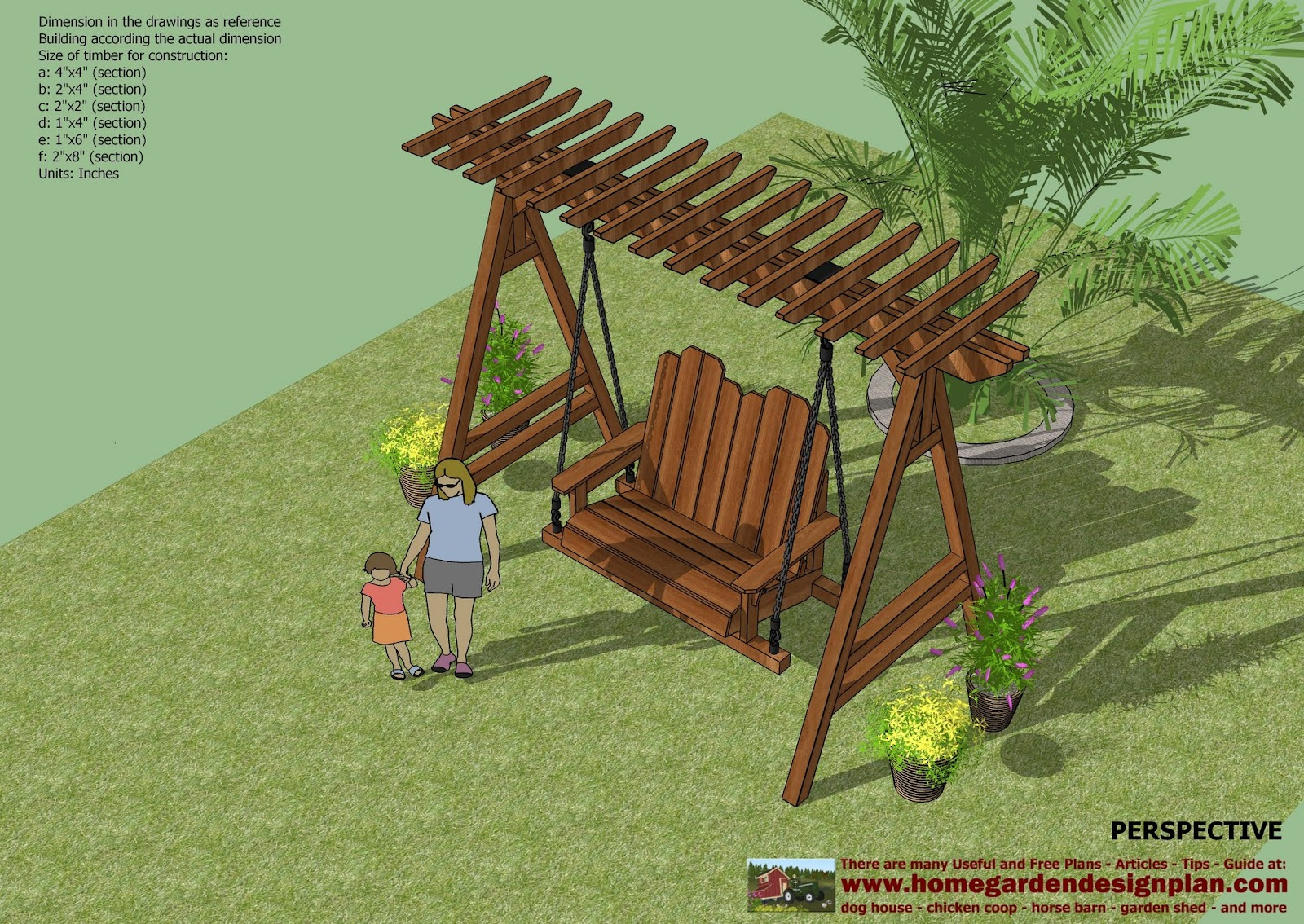 Home Garden Plans Sw101 Arbor Swing Plans Construction - garden swing designs