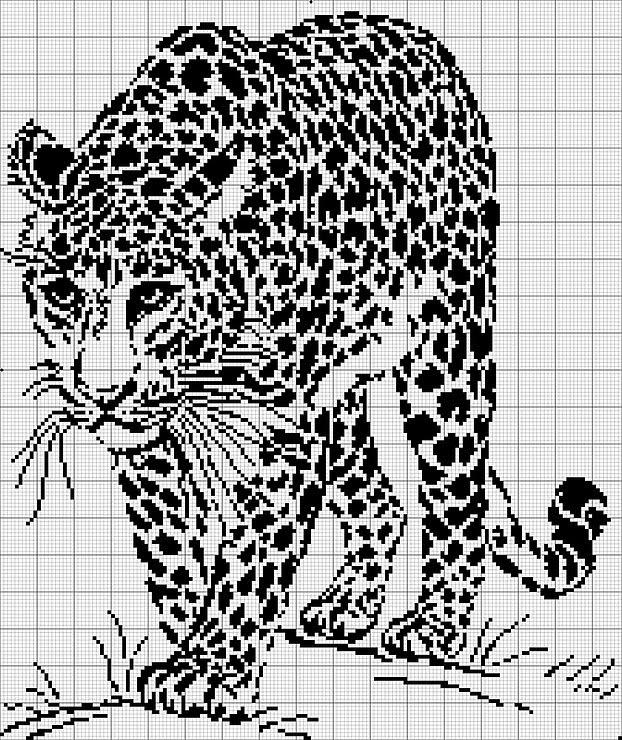 Черно белые вышивки тигра схемы