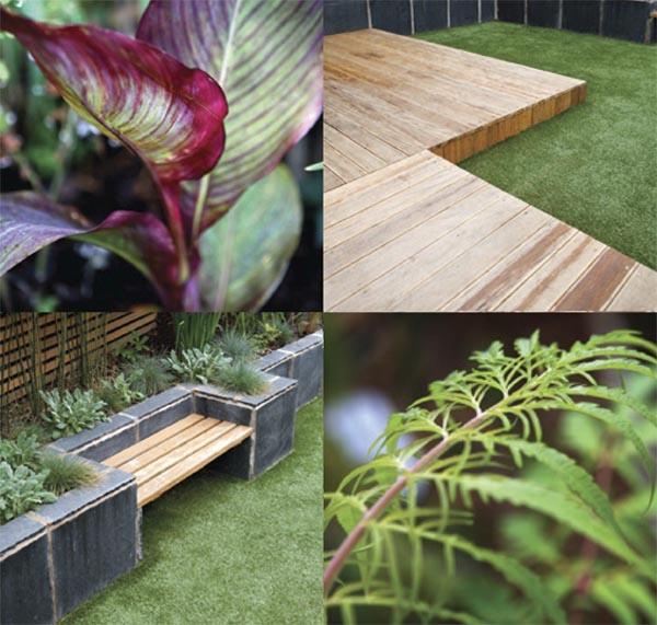 elementos decorativos utilizados en  pequeño jardin