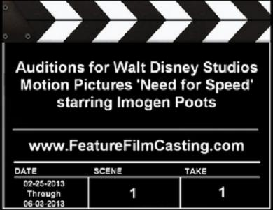 Casting Call Auditions for Walt Disney Studios Motion Pictures film Need for Speed