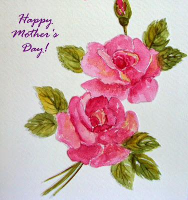 mothersday,art,card,pink,roses,singhroha, twin,greeting,blooms,spring,mother,handmade,painted,watercolour,watercolor