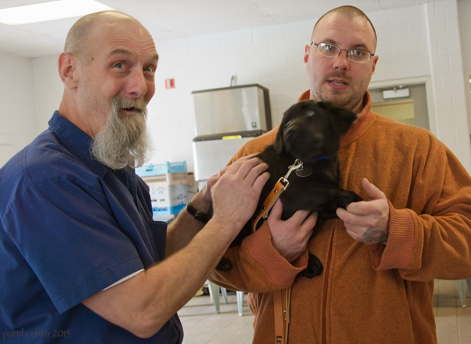 The man on the left has looked up to the camera with a surprised and excited look on his face while he continues to pet the lab puppy with his right hand. The man on the right is holding the puppy in his right arm and holding the puppy's front paw with his left hand. The puppy is snuggled into the man on the right's chest while looking at the man on the left, his eyes wide open.