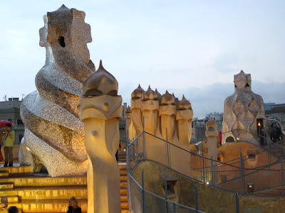 La Pedrera at night in summer