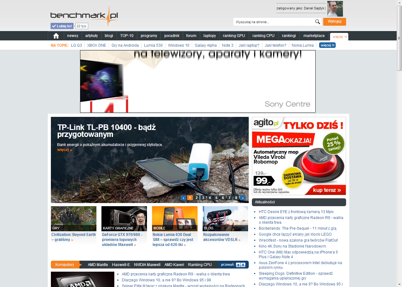 Strona główna portalu benchmark.pl z testem power banku