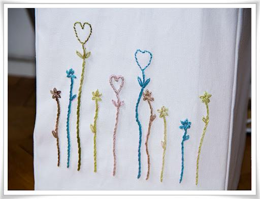 Broderade blommor på... Se nästa bild