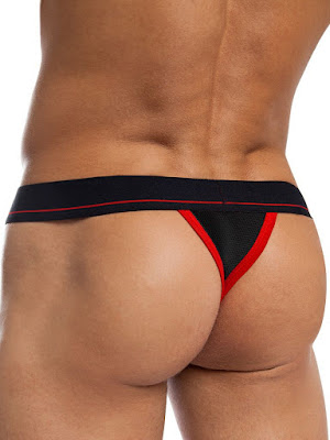 jackadams Bodyflex Mesh Thong Underwear Black-Red Back Gayrado